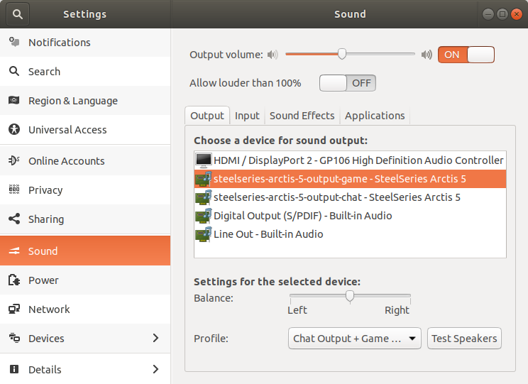 Gnome sound settings with Artcis 5 game output selected